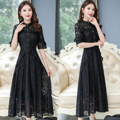 【韓國K.W.】(預購)韓時尚法式古典名媛蕾絲洋裝-3色
