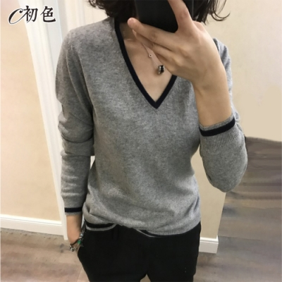 初色  滾邊V領針織衫-共3色-(M-2XL可選)