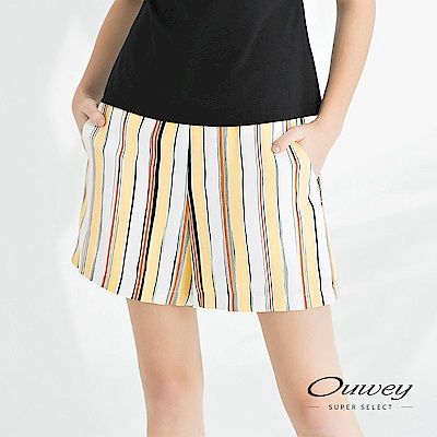 OUWEY歐薇 大口袋條紋涼感短褲(可)