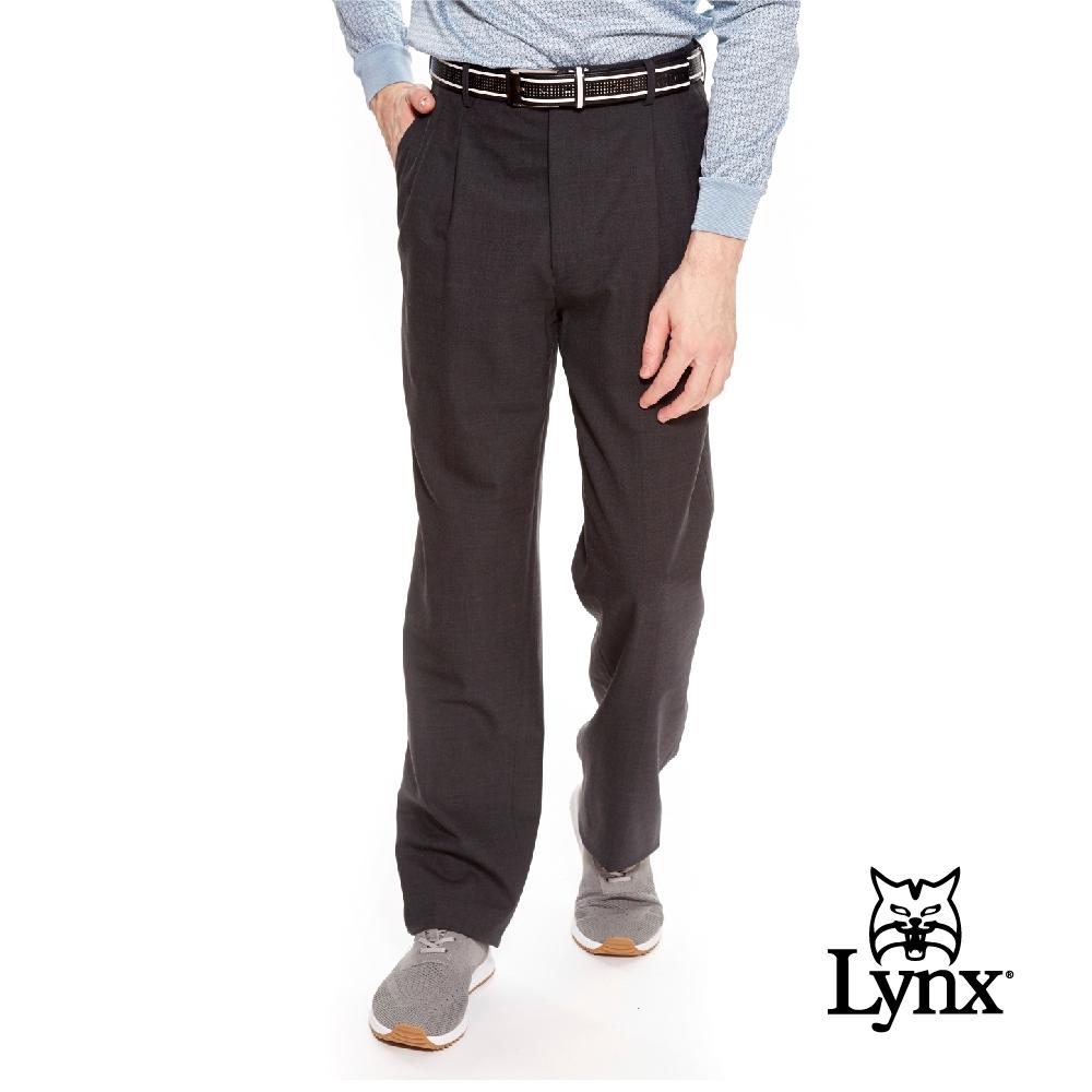 【Lynx Golf】男款歐洲進口布料伸縮腰頭雙折西裝長褲-深灰色