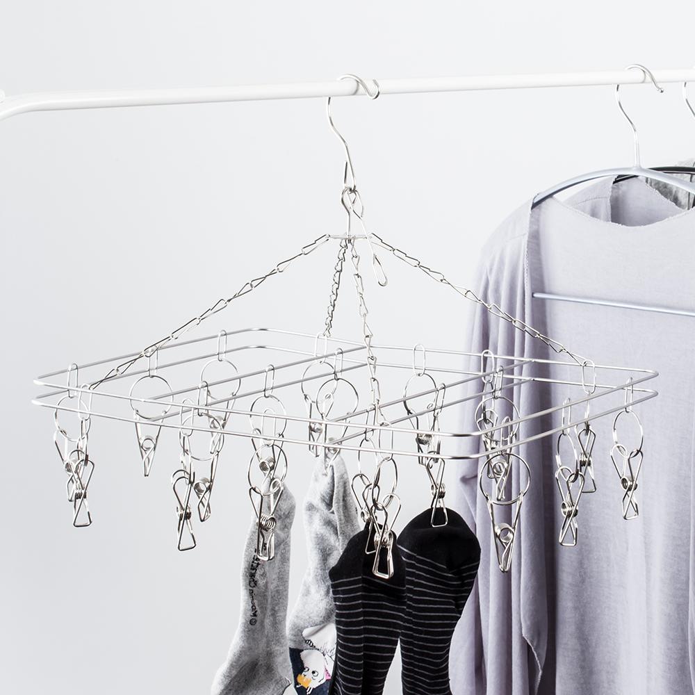 樂嫚妮 不鏽鋼方形20夾防風衣架/曬晾吊衣襪夾