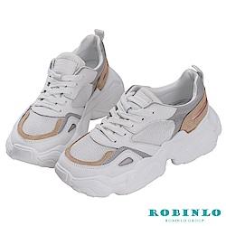 Robinlo 復古經典款後底老爹鞋 白