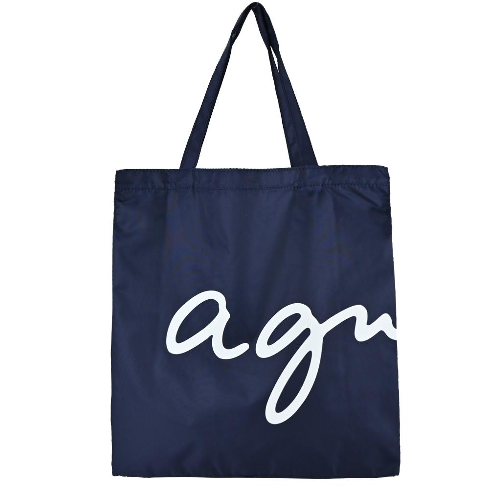 agnes b. 草寫LOGO尼龍手提輕便袋(可折疊)-深藍
