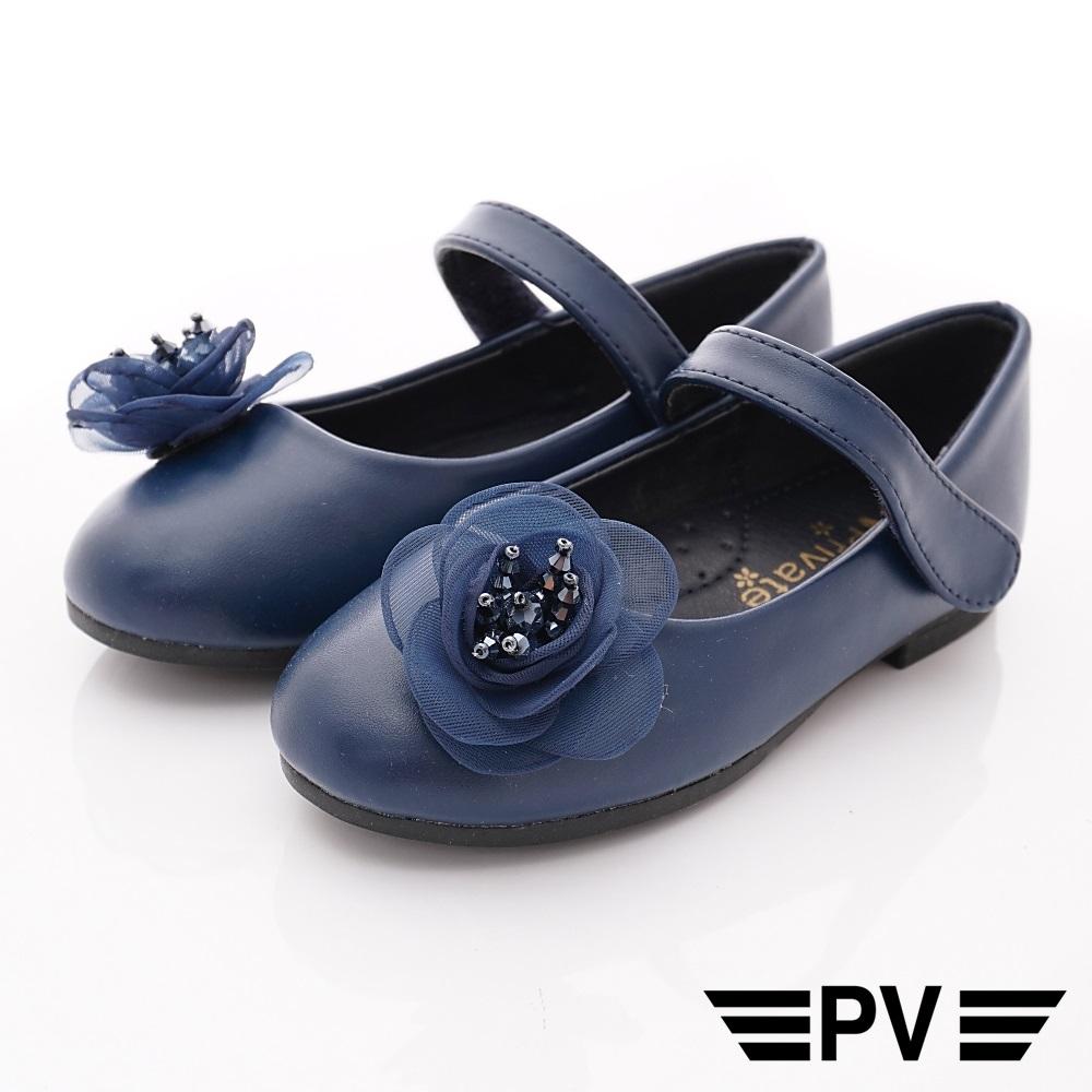 PV日系私藏 蕾絲花漾公主鞋款 8653藍(中小童段)