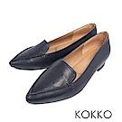 KOKKO -美好時光尖頭手工羊皮樂福平底鞋-莫蘭迪