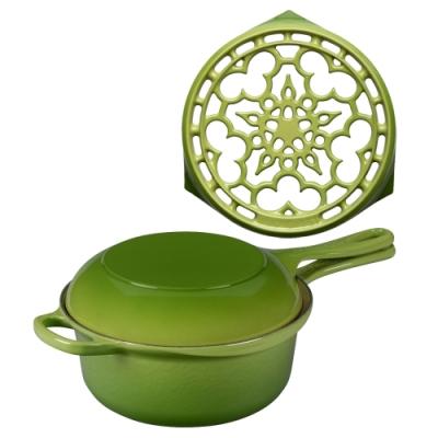 LE CREUSET 琺瑯鑄鐵典藏多功能燉煮鍋22cm+鐵鍋架(棕櫚綠)