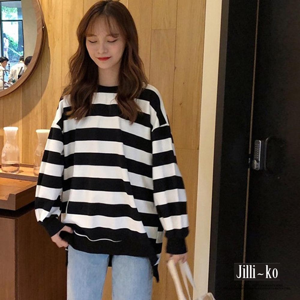 JILLI-KO 韓版寬鬆百搭條紋內刷毛長袖T恤 - 黃/黑