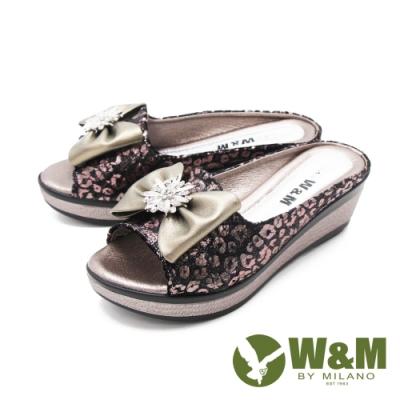 W&M (女) 魚口鑽花楔型厚底彈力涼拖鞋 女鞋 -古銅色(另有黑)