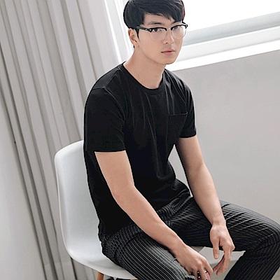 台灣製造.簡約純色口袋設計短袖上衣-OB大尺碼