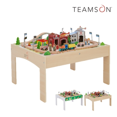 [時時樂限定34折] Teamson 85件木製小火車軌道遊戲桌組