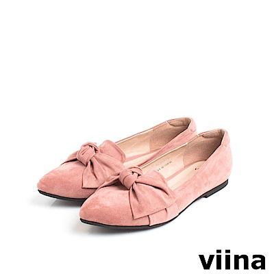 viina Basic羊絨布大蝴蝶結尖頭平底鞋 - 粉