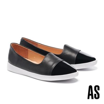 休閒鞋 AS 簡約率性異材質拼接全真皮厚底休閒鞋-黑