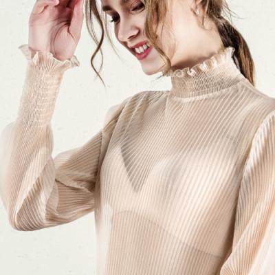 專注內搭-雪紡衫長袖很仙的上衣時尚素色內搭(二色S-2XL可選)