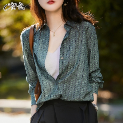 初色  設計感小魚印花襯衫-綠色-(M-2XL可選)