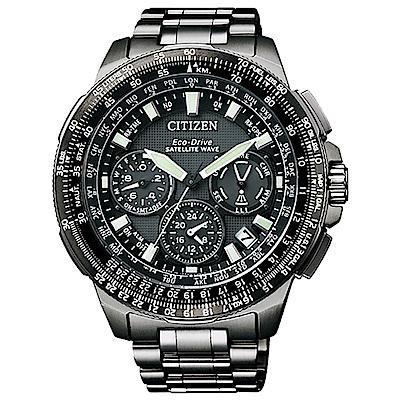 CITIZEN 星辰 衛星對時鈦金屬男錶(CC9025-51E) 黑/47mm