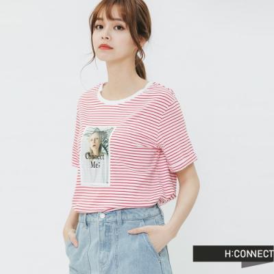 H:CONNECT 韓國品牌 女裝 - 彩色圖印條紋T-shirt-紅(快)