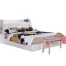 品家居 凱絲6尺皮革雙人加大床台組合(不含床墊)-182x218x105cm免組