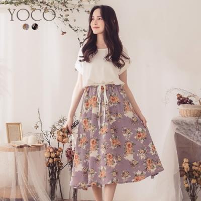 東京著衣-YOCO 氣質華麗雪紡拼接抽繩洋裝-S.M.L(共二色)