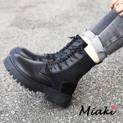 Miaki-短靴.韓風穿搭厚底綁帶襪靴