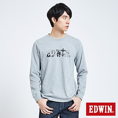EDWIN 潮流機能 極限車框LOGO長袖T恤-男-灰色