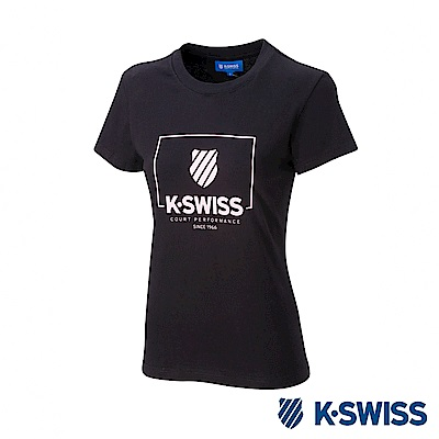 K-SWISS KS Logo W/Frame Tee印花短袖T恤-女-黑