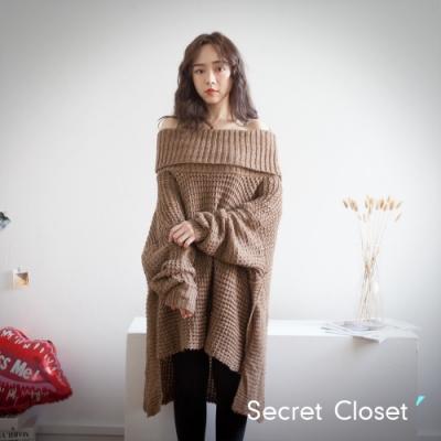 Secret Closet-寬鬆高領不規則針織毛衣