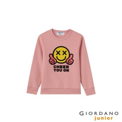 GIORDANO  童裝CHEER YOU ON大學T恤 - 07 薔薇粉紅