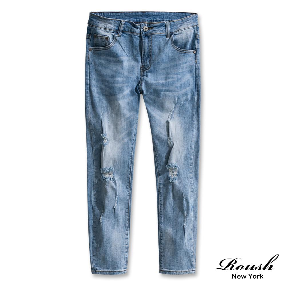Roush 水洗破壞刷痕彈力淺色牛仔褲