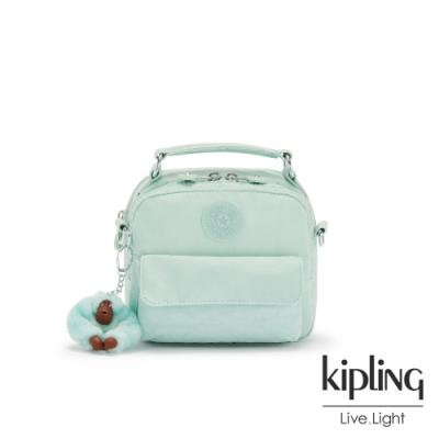 Kipling 神秘薄荷藍拉鍊兩用側背後背包-PUCK
