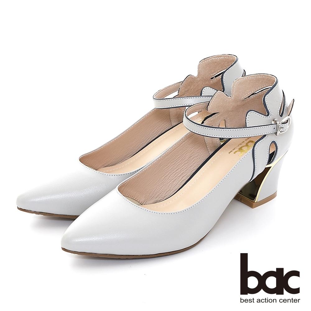 【bac】尖頭粗跟鏤空腳踝帶高跟鞋-淺灰
