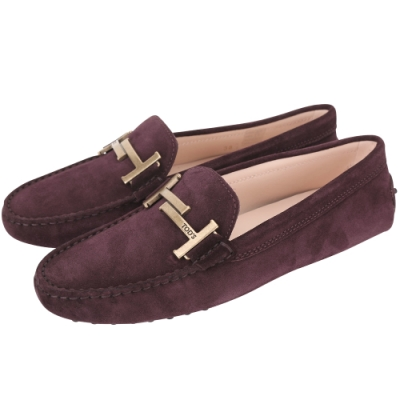 TOD'S Timeless T字麂絨小牛皮豆豆鞋(女鞋/紫紅色)