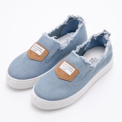 River&Moon街頭率性單寧抽鬚懶人厚底休閒鞋 藍