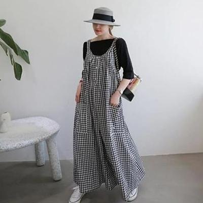 MOCO百搭大口袋寬鬆減齡條紋格子吊帶連身褲闊腿褲M~XL