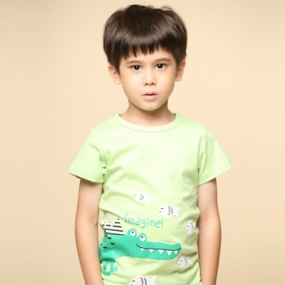 Azio 男童 上衣 小魚鱷魚印花純色短袖T恤(綠)