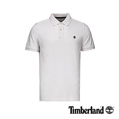 Timberland 男款白色撞色刺繡LOGO短袖POLO衫|A1ZKE