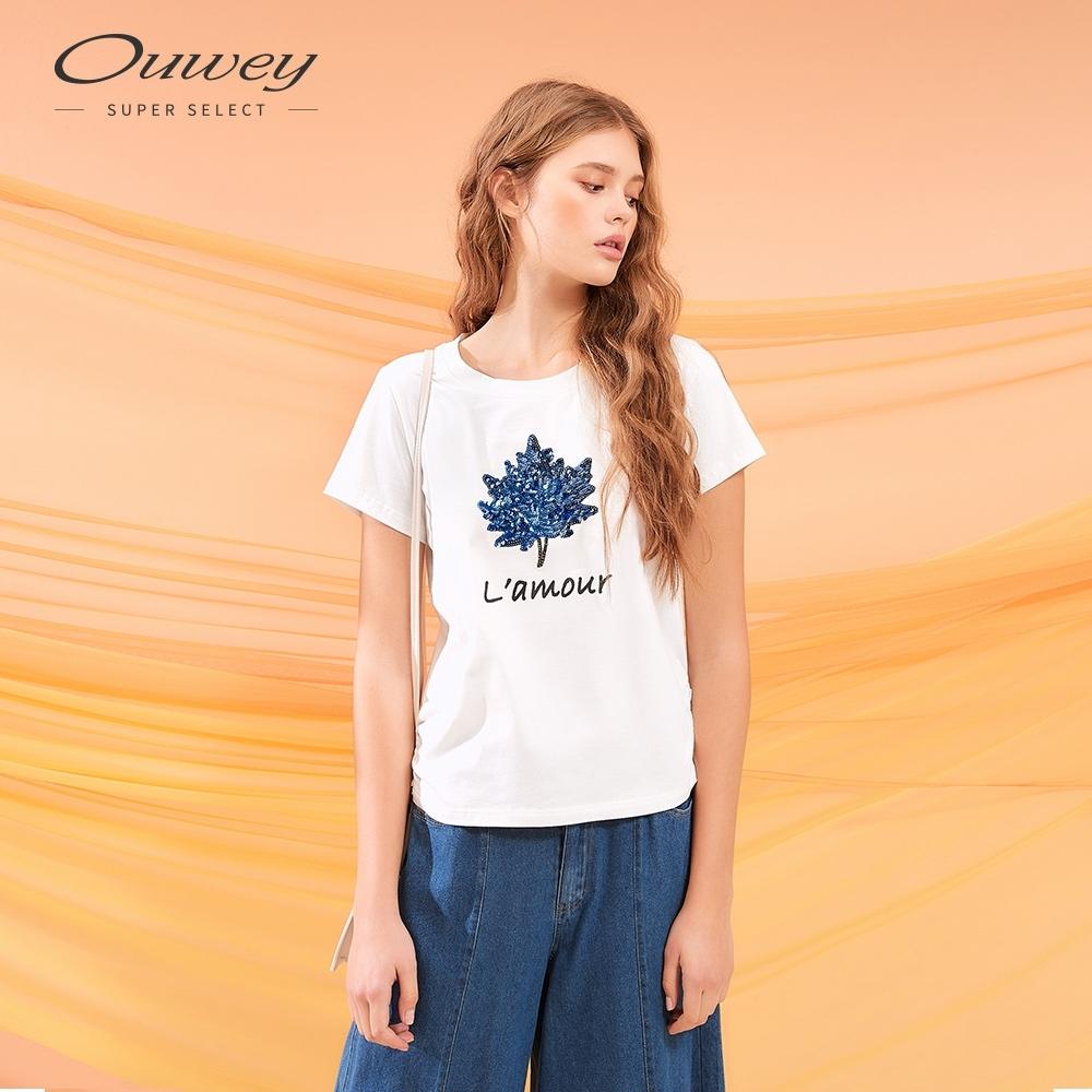 OUWEY歐薇 漸層樹葉亮片繡棉質上衣(白)