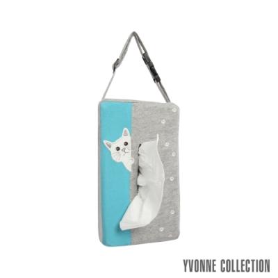 Yvonne Collection 貓咪車用面紙套-淺灰/碧藍