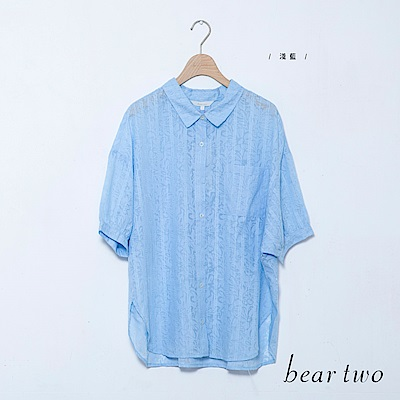 beartwo 透膚花印襯衫上衣(二色)
