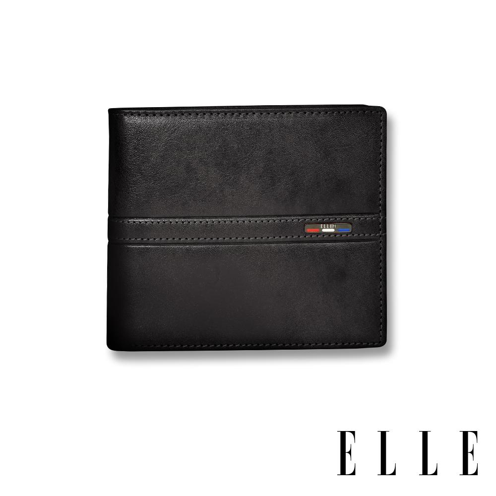 ELLE HOMME 70週年系列-3卡窗格簡約真皮皮夾/短夾/零錢袋- 紳士黑 EL207044