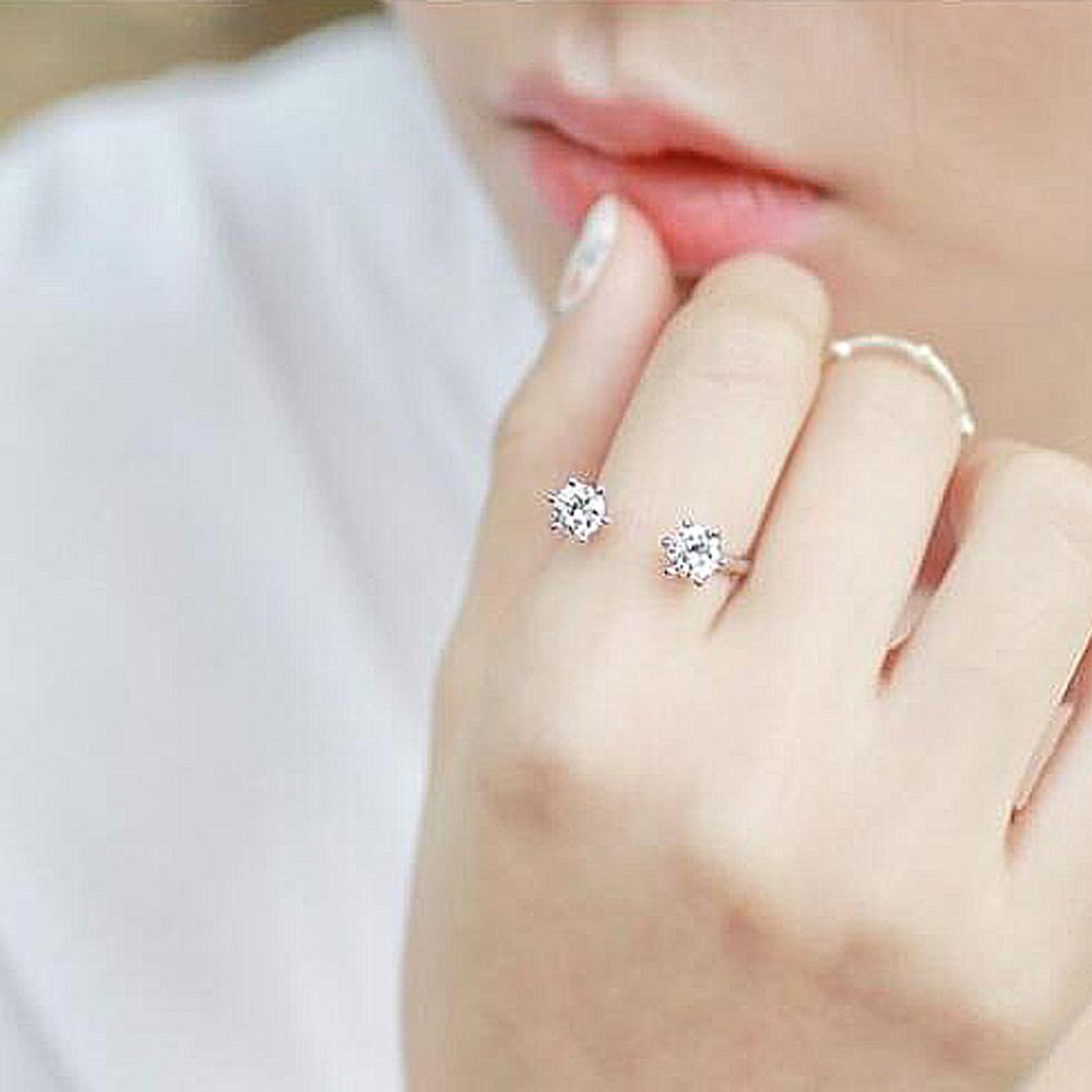 梨花HaNA 韓國雙鑽細緻點綴指間開口戒指 @ Y!購物