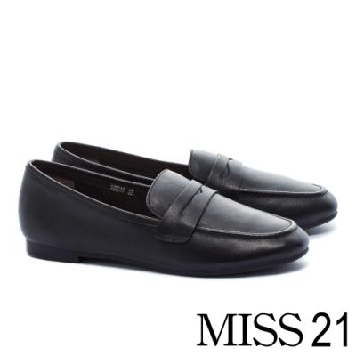 低跟鞋 MISS 21 復刻經典知性全真皮樂福低跟鞋-黑