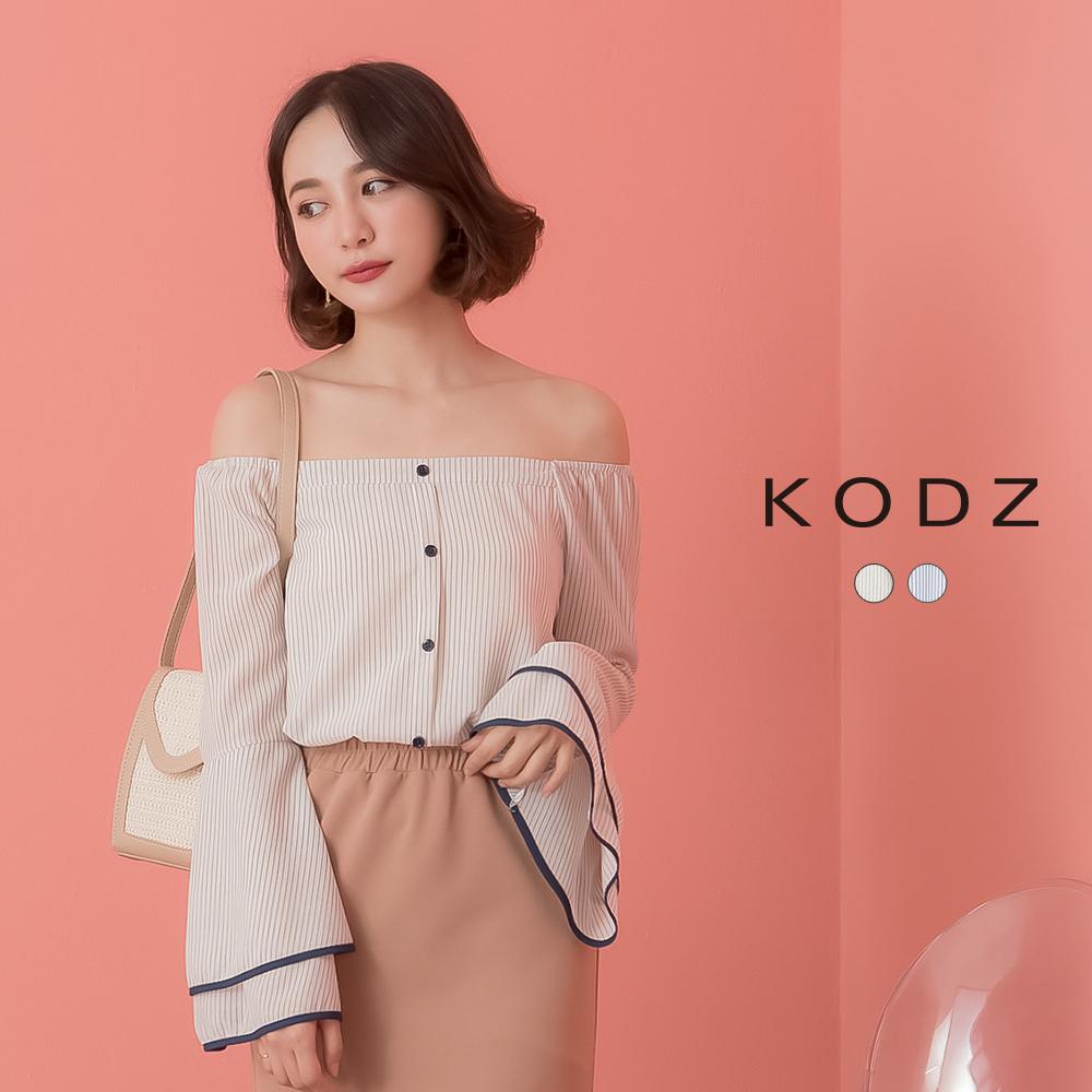 東京著衣-KODZ 優雅淑女一字領雙層喇叭袖上衣-S.M.L(共兩色)