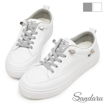 山打努SANDARU-小白鞋 超軟Q免綁帶防磨腳休閒鞋-灰