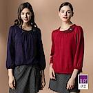 ILEY伊蕾 立體捏花荷葉滾邊圓領上衣(紫/紅)