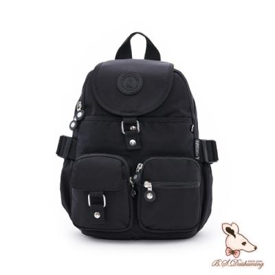 B.S.D.S冰山袋鼠 - 時光旅人 - 知性防潑水多口袋小後背包 - 黑色【B00151K】