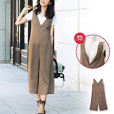 日本雜誌款-低V領無袖8分連身褲(咖啡)
