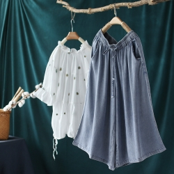 垂感天絲棉寬鬆休閒顯瘦七分褲子-設計所在