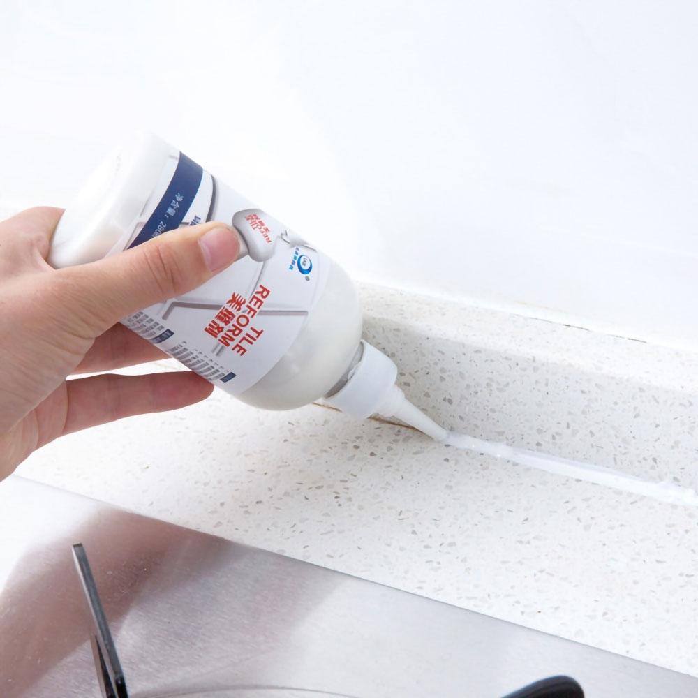 EZlife瓷磚縫隙防黴美縫劑2入組(贈加絨家事清潔手套)