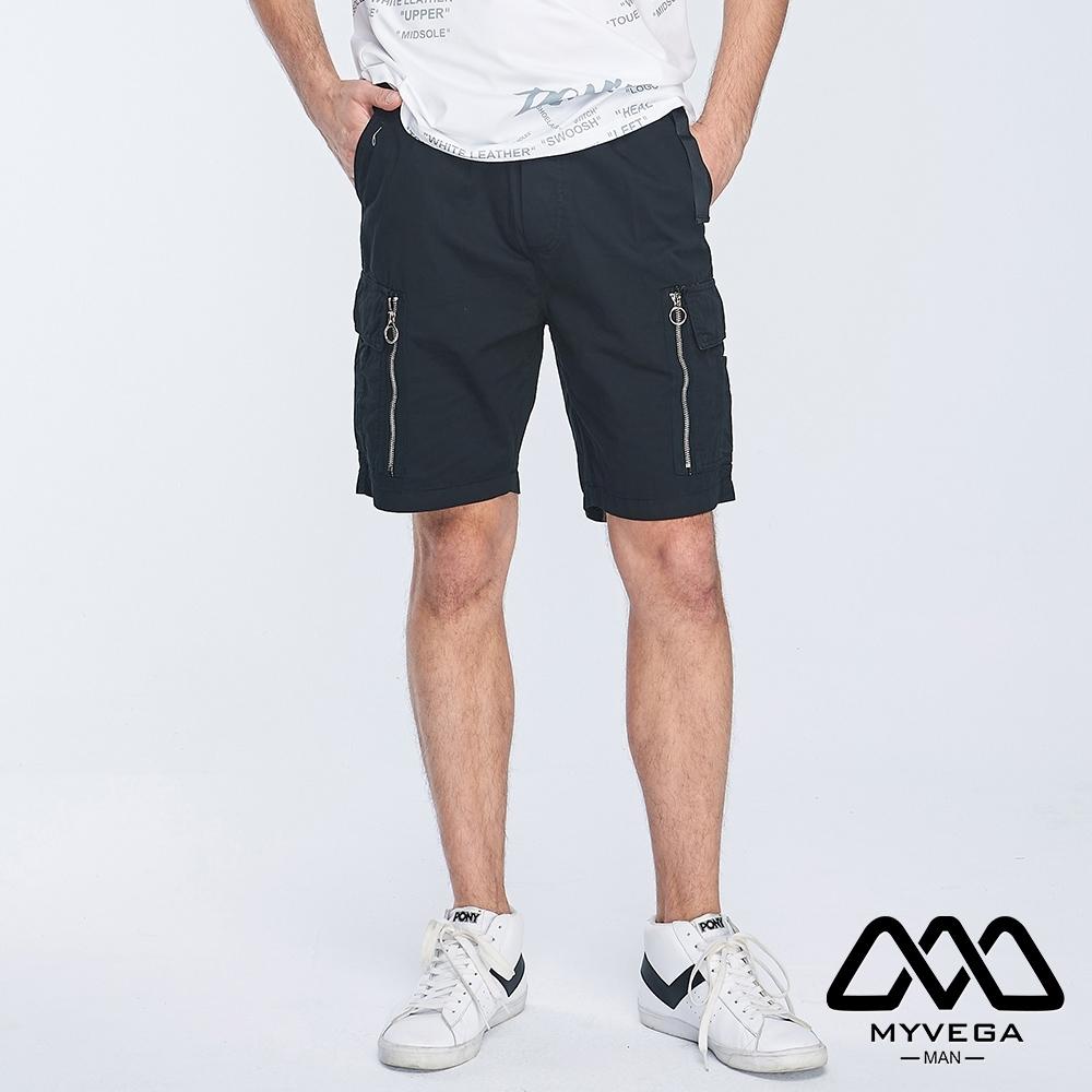 MYVEGA MAN可工裝多口袋裝飾拉鍊短褲-黑