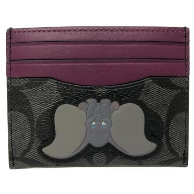 COACH X DISNEY限量聯名小飛象證件悠遊卡名片夾(黑灰/紫)